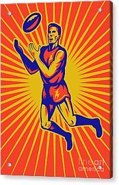 Aussie Rules Player Jumping Ball Acrylic Print by Aloysius Patrimonio