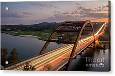 Austin 360 Bridge At Night Acrylic Print