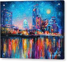 Austin Art Impressionistic Skyline Painting #2 Acrylic Print
