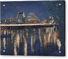Acrylic Print featuring the painting Austin At Night by Felipe Adan Lerma