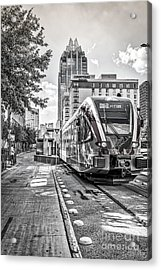 Austin City Rail In Black And White Acrylic Print by Tod and Cynthia Grubbs
