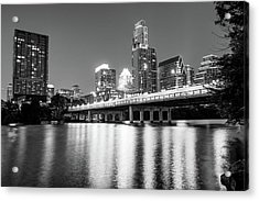 Acrylic Print featuring the photograph Austin City Skyline And Congress Bridge In Black And White by Gregory Ballos