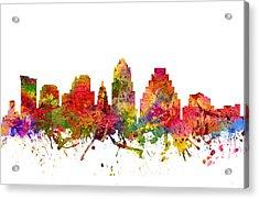Austin Cityscape 08 Acrylic Print by Aged Pixel