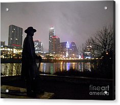 Austin Hike And Bike Trail - Iconic Austin Statue Stevie Ray Vaughn - One Acrylic Print