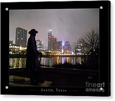 Austin Hike And Bike Trail - Iconic Austin Statue Stevie Ray Vaughn - One Greeting Card Poster Acrylic Print