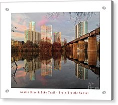 Austin Hike And Bike Trail - Train Trestle 1 Sunset Left Greeting Card Poster - Over Lady Bird Lake Acrylic Print