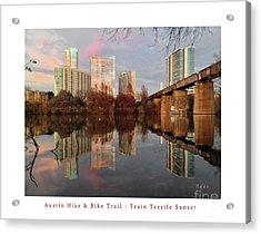 Austin Hike And Bike Trail - Train Trestle 1 Sunset Left Greeting Card Poster - Over Lady Bird Lake Acrylic Print