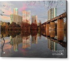 Austin Hike And Bike Trail - Train Trestle 1 Sunset Triptych Left Acrylic Print