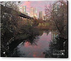 Austin Hike And Bike Trail - Train Trestle 1 Sunset Triptych Right Acrylic Print