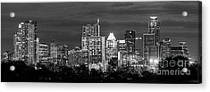 Austin In Black And White Pano Acrylic Print by Tod and Cynthia Grubbs