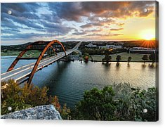 Austin Pennybacker 360 Bridge Sunset Acrylic Print by Preston Broadfoot