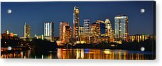 Austin Skyline At Night Color Panorama Texas Acrylic Print by Jon Holiday