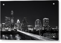 Austin Skyline Black And White Acrylic Print by Tod and Cynthia Grubbs