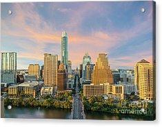 Austin Skyline Golden Glow Acrylic Print