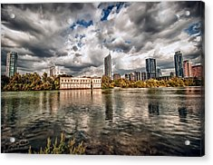 Austin Skyline On Lady Bird Lake Acrylic Print by John Maffei
