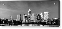Austin Skyline Pano In Black And White Acrylic Print by Tod and Cynthia Grubbs