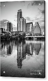 Austin Skyline Reflection In Black And White  Acrylic Print by Paul Velgos