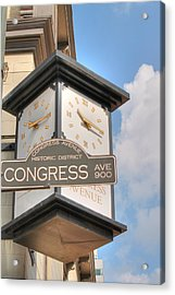 Austin Street Sign And Clock Acrylic Print