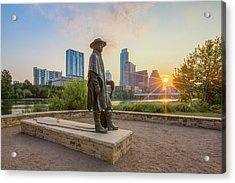 Austin Sunrise And The Srv Statue 1 Acrylic Print by Rob Greebon