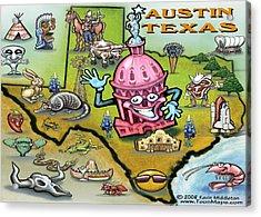 Austin Texas Cartoon Map Acrylic Print by Kevin Middleton