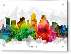 Austin Texas Cityscape 12 Acrylic Print by Aged Pixel