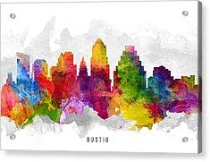 Austin Texas Cityscape 13 Acrylic Print by Aged Pixel