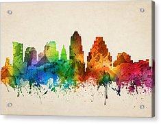 Austin Texas Skyline 05 Acrylic Print by Aged Pixel