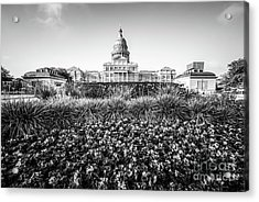 Austin Texas State Capitol Building Black And White Photo Acrylic Print by Paul Velgos