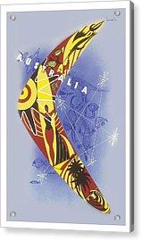 Australia Boomerang Aboriginal Art National Travel Association Vintage World Travel Poster Acrylic Print