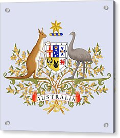 Acrylic Print featuring the drawing Australia Coat Of Arms by Movie Poster Prints