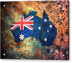 Australia Flag Map Acrylic Print by Michael Tompsett