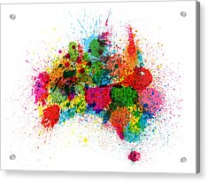Australia Paint Splashes Map Acrylic Print by Michael Tompsett