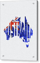 Australia Typographic World Map Acrylic Print