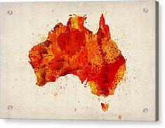 Australia Watercolor Map Art Print Acrylic Print by Michael Tompsett