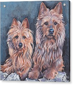 Acrylic Print featuring the painting Australian Terriers by Lee Ann Shepard