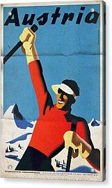Austria Ski Tourism - Vintage Poster Folded Acrylic Print