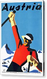 Austria Ski Tourism - Vintage Poster Restored Acrylic Print