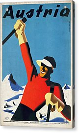 Austria Ski Tourism - Vintage Poster Vintagelized Acrylic Print
