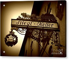Austrian Beer Cellar Sign Acrylic Print by Carol Groenen