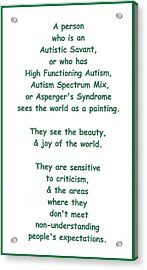 Autism Torture Acrylic Print