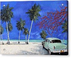 Auto Sulla Spiaggia Acrylic Print