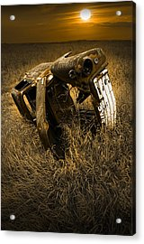 Auto Wreck In A Grassy Field On The Prairie At Sunset Acrylic Print