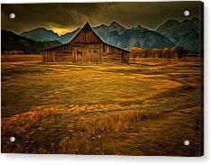 Autum At The Moulton Barn Acrylic Print by Mark Kiver