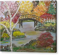 Autum Bridge Acrylic Print by Mikki Alhart