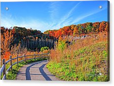 Acrylic Print featuring the photograph Autumn Hiking Trail by Charline Xia