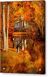 Autumn - People - Gone Fishing Acrylic Print by Mike Savad