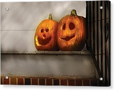 Autumn - Pumpkins - Two Goofy Pumpkins Acrylic Print by Mike Savad