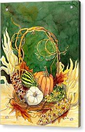 Autumn Abundance - Fall Harvest Basket Indian Corn Pumpkin Gourds Acrylic Print by Audrey Jeanne Roberts
