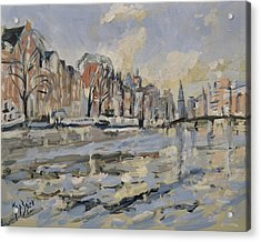 Autumn Along The Amstel In Amsterdam Acrylic Print