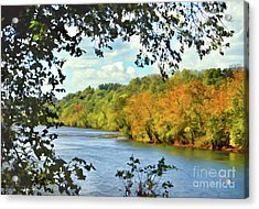Autumn Along The New River - Bisset Park - Radford Virginia Acrylic Print